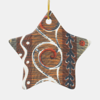 Star African Vintage Traditional Colors Ceramic Ornament