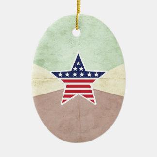Star American Flag on Vintage Background Ceramic Ornament
