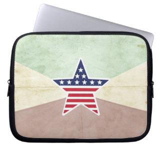 Star American Flag on Vintage Background Laptop Computer Sleeves