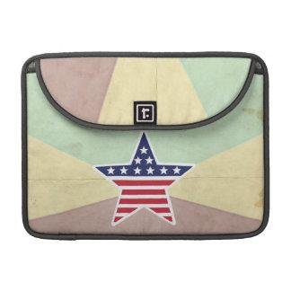 Star American Flag on Vintage Background Sleeves For MacBooks