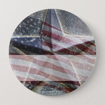 Star and American Flag name tag Button