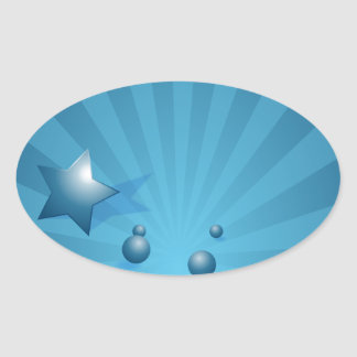 Star and Circle Blue Energy Burst Background Oval Sticker