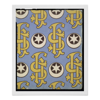 Star and Clef ecclesiastical wallpaper design Poster