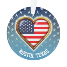 Star And Heart Shaped American Flags Ornament
