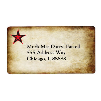 Star and Parchment Label Shipping Label