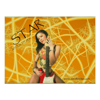 STAR and Red Floyd Rose Guitar Poster