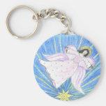 Star  Angel Basic Round Button Keychain