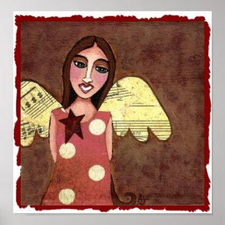 Star Angel w/ Musical Wings - print