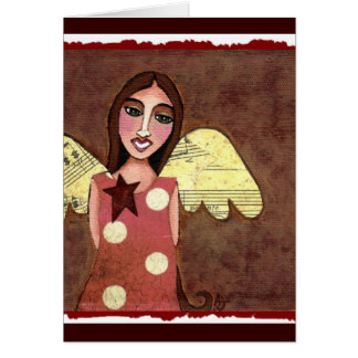 Star Angel/ w/ Polka Dots - greeting card
