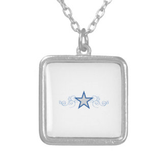 STAR APPLIQUE AND SWIRLS SQUARE PENDANT NECKLACE