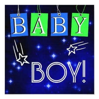 "Star Baby Boy Announcement 5.25"" Square Invitation Card"