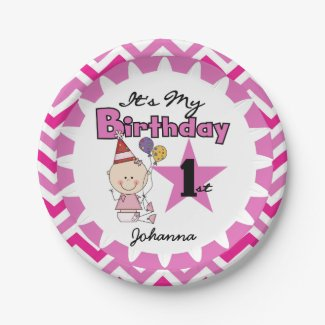 Star Baby Girl 1st Birthday Paper Plates 7 Inch Paper Plate