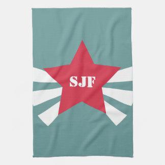 Star Badge Monogram Kitchen Tea towel