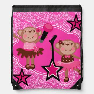 Star Ballerina Monkeys Drawstring Backpack Bag