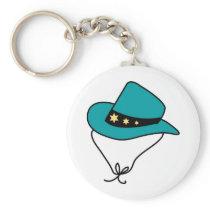 Star Band on Blue Cowboy Hat Keychain