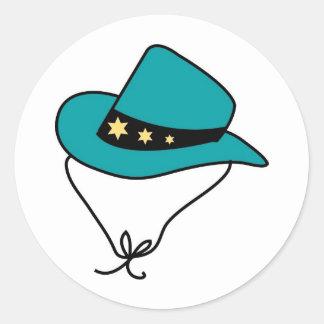 Star Band on Blue Cowboy Hat Round Sticker