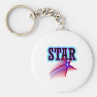 Star Basic Round Button Keychain