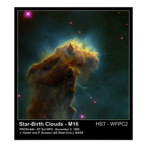 Star Birth Cloud M16 Hubble Telescope Photo Posters