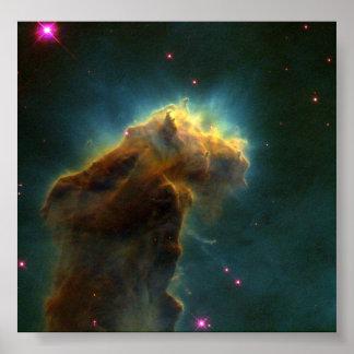 Star-Birth Clouds in M16- Stellar Eggs Emerge from Print