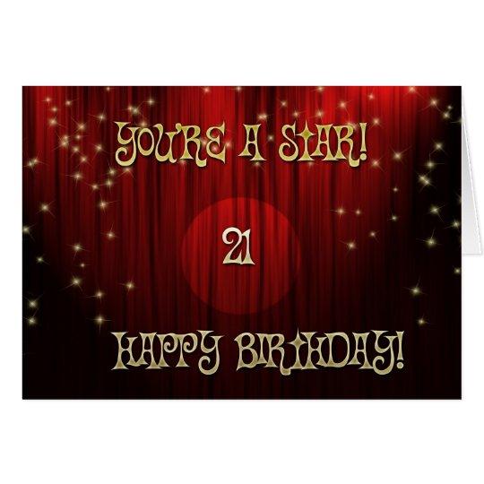 Star Birthday 21 Card