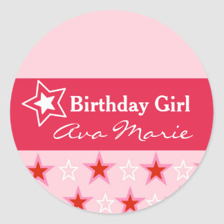 Star Birthday Girl Party Classic Round Sticker