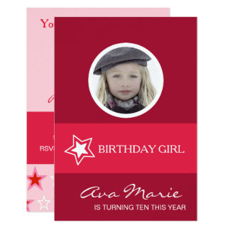 Star Birthday Girl Photo Card