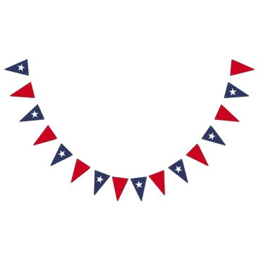 USA Themed Star Blue and Red Bunting Flags