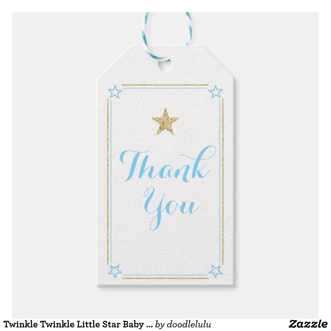 Star Blue Gold Glitter Thank You Gift Tags
