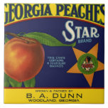 Star Brand Peach Crate Label Large Square Tile
