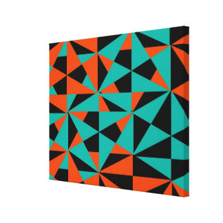 Star Burst Atomic Sphere Retro Style Orange Black Canvas Print