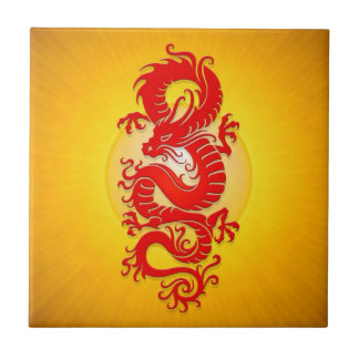 Star Burst Chinese Dragon, red and yellow Tile