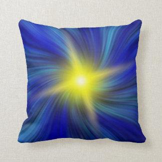 Star Burst in Blue Vortex Throw Pillow