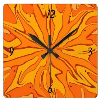 star burst orange clock