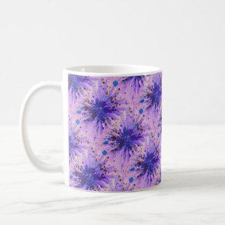 Star burst purple, blue and pink abstract art coffee mug