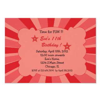 Star Burst - Red Birthday Invitation