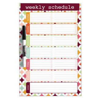 Star Burst Weekly Schedule Dry Erase Board