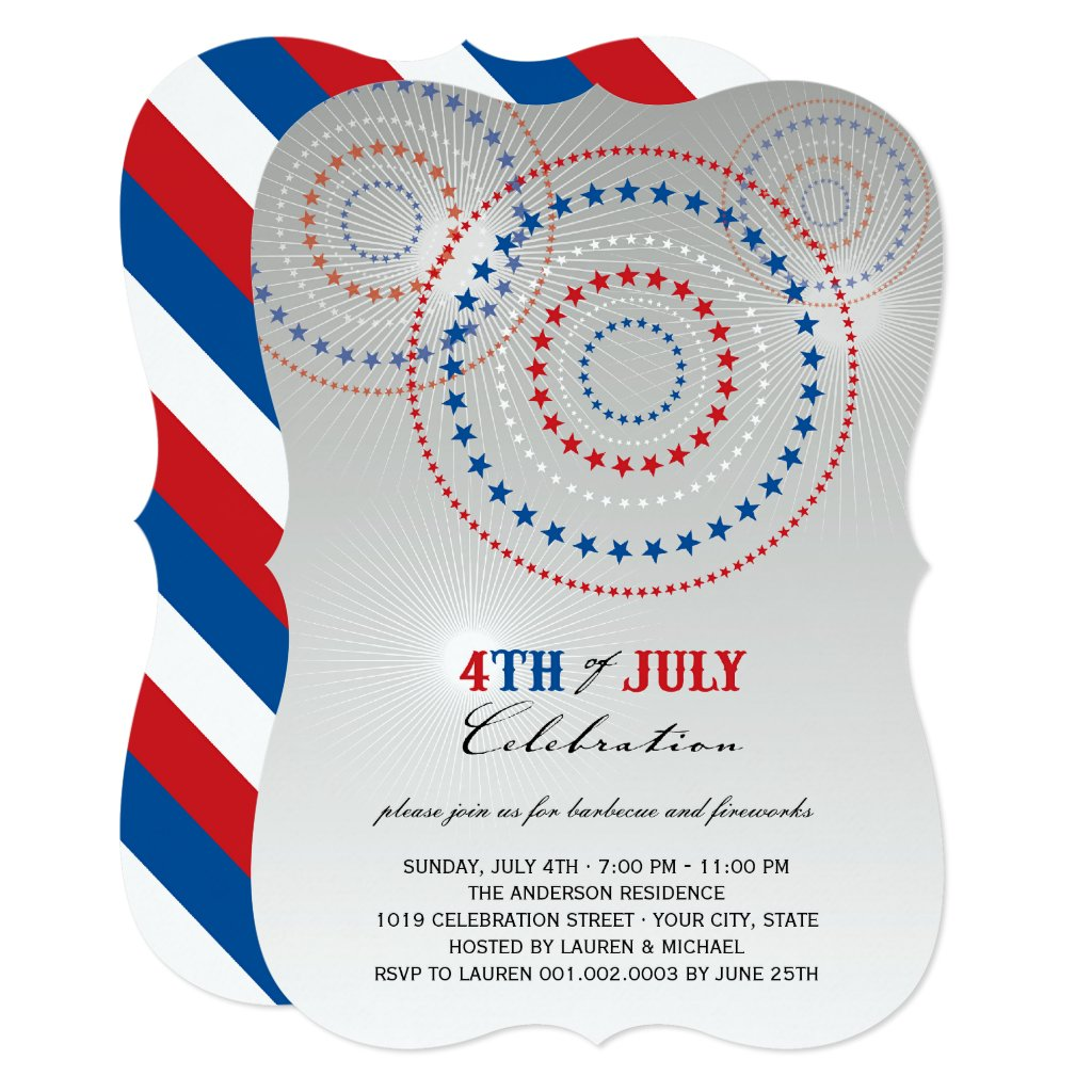 Star Bursts Fireworks Fourth of July Party Invite