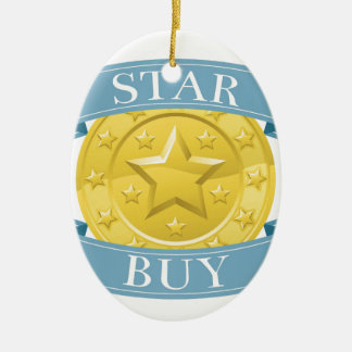 Star buy gold and blue award medal Double-Sided oval ceramic christmas ornament