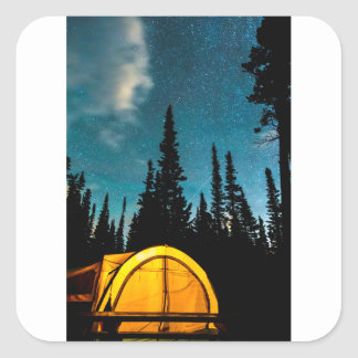 Star Camping Square Sticker