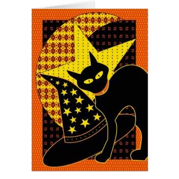 Halloween Themed Star cat card