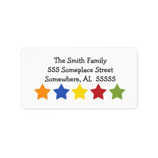 Star Celebrations Address Label in Primary Colors