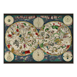 Star Chart Celestial Map Vintage Astronomy Poster