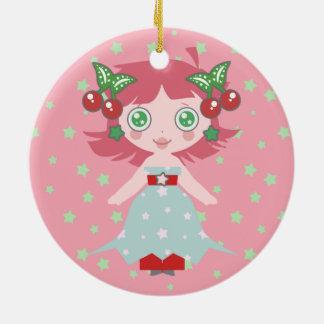 Star Cherry Girl Christmas Tree Ornaments