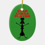 Star Chess Player Double-Sided Oval Ceramic Christmas Ornament