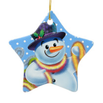 Star Christmas tree decoration Snowman and tinsel.