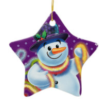 Star Christmas tree decoration Snowman & tinsel.