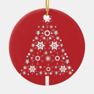 Star Christmas Tree on red background Ceramic Ornament