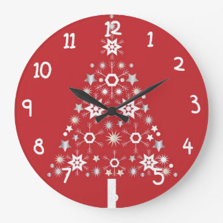 Star Christmas Tree on red background Large Clock