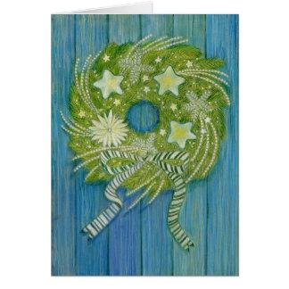 Star Christmas Wreath Greeting Card