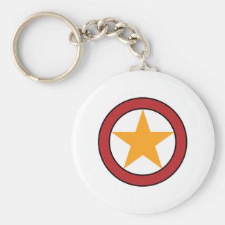Star Circle Badge Basic Round Button Keychain